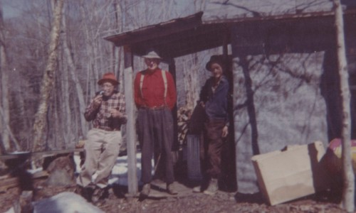Henry, Elias and Charlie at the sugar shack, 1962